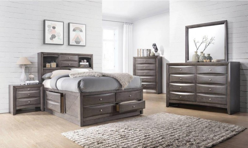 American Imports Emily Grey Queen Storage Bed, Dresser/Mirror