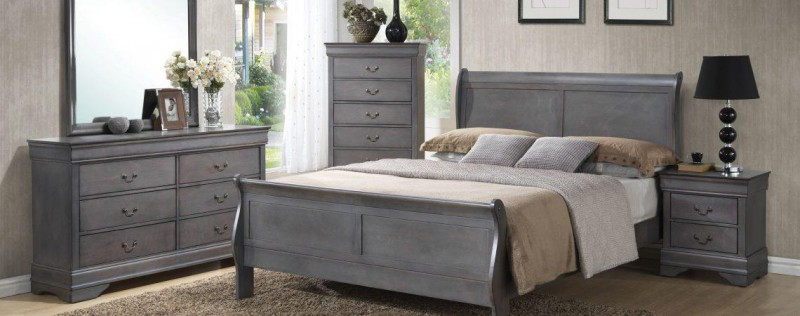 American Imports Louis Philippe Grey Queen Bed, DR/MR