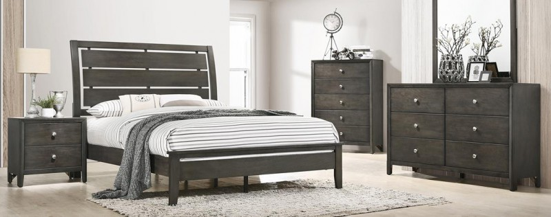 American Imports Grant Queen Bed, Chest, Dresser/Mirror