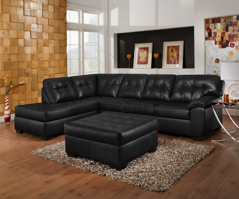 Simmons | Sowtime Onyx Bonded Leather Sectional