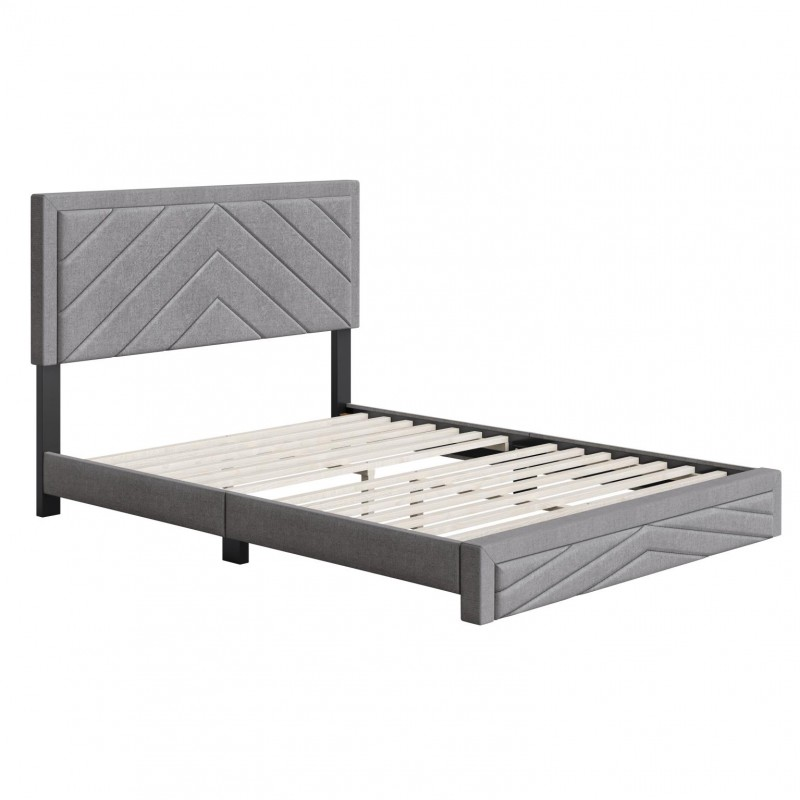 Boyd   Barcelona Grey Fabric King Size 14 Slat Platform Bed