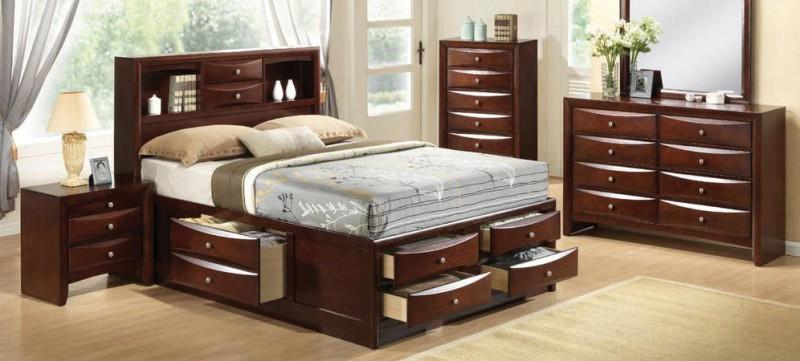 American Imports Emily Merlot Queen Storage Bed, Dresser/Mirror