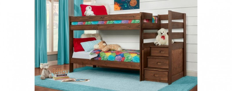 Twin/Twin Stairstep Bunkbed Chestnut