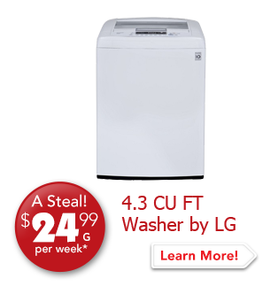 4.3 CU FT Washer by LG A Steal! $24.99 per week.