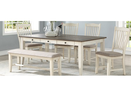 Lakewood Dining Table, 4 Chairs & Bench