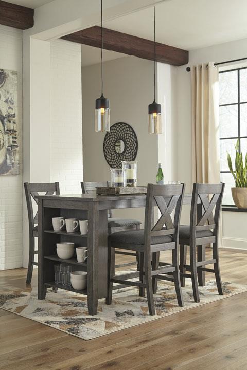 Signature Design | Caitbrook Dark Grey Counter Table and 4 Stools