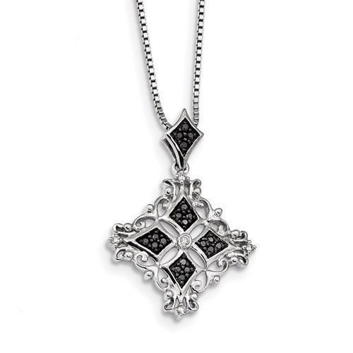 New Generations  Silver Black/Diamond Pendant Necklace