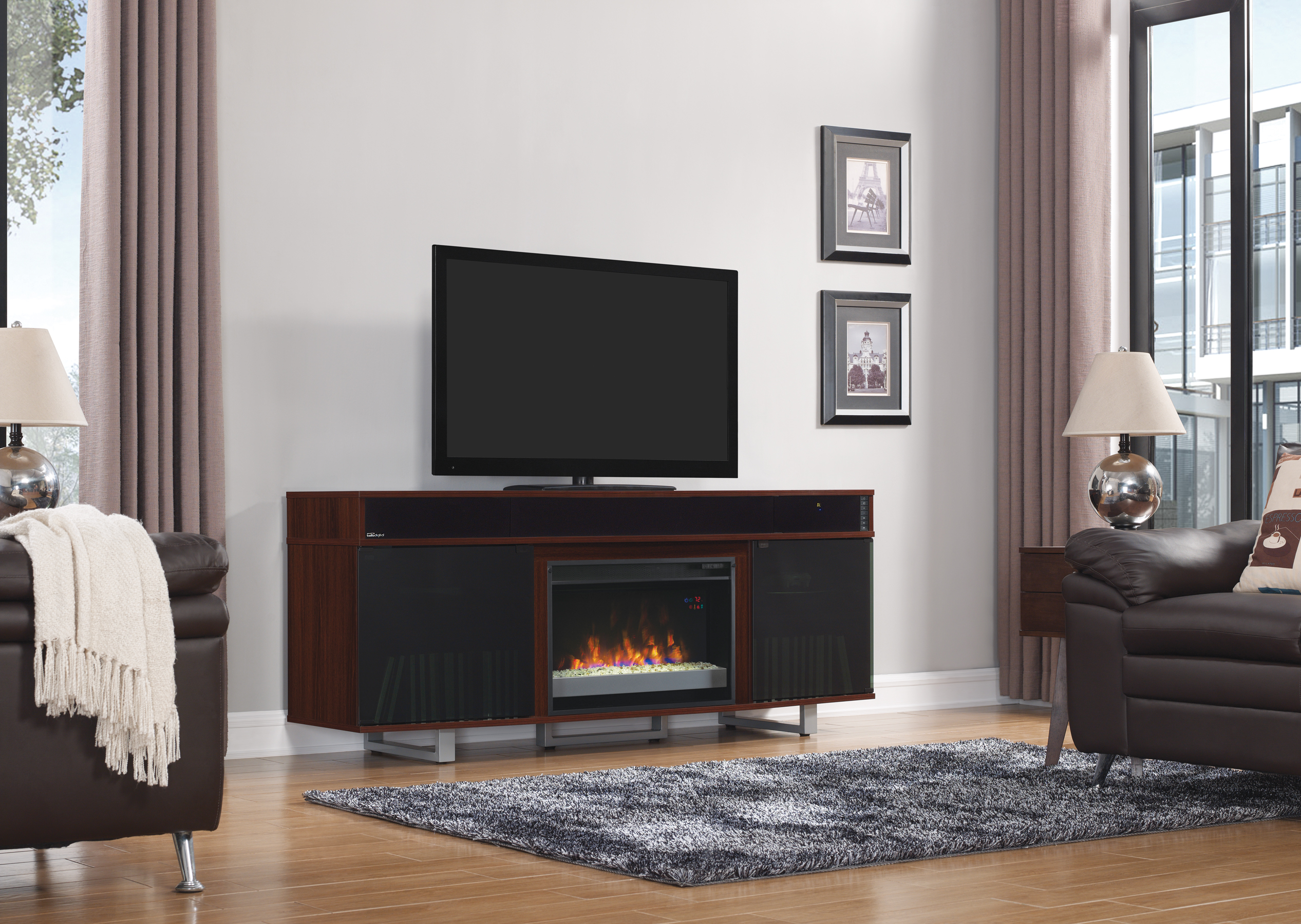 Rent classic flame enterprise fireplace tv stand cherry fireplaces furniture rental rent 2 own