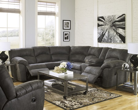 Signature Design by Ashley Tambo Reclining Sectional - Pewter