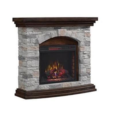 TwinStar | Stone and Aged Coffee Fireplace