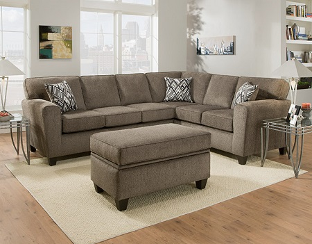 Rent American Furniture Cornell Pewter 2 Piece Sectional Living