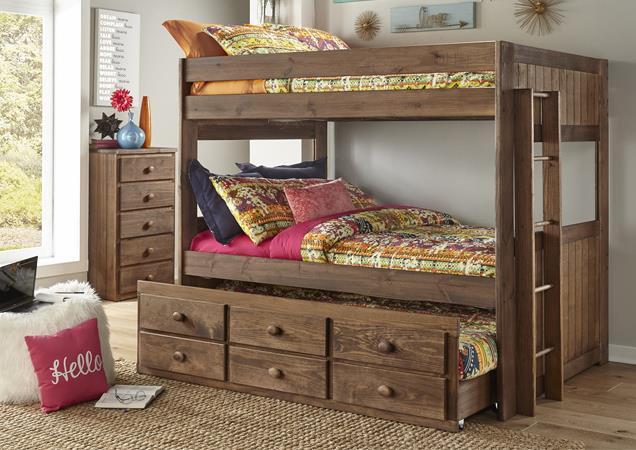 Simply Bunk Beds | FULL/FULL RAILS CHESTNUT