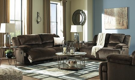 Clonmel Chocolate Reclining Sofa and Wide Seat Recliner