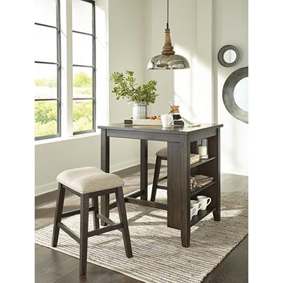 Signature Design   Rokane Brown Table with Shelves and 2 Stools
