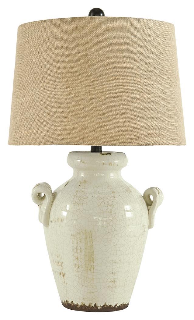 Signature Design Emelda Cream Ceramic Table Lamp