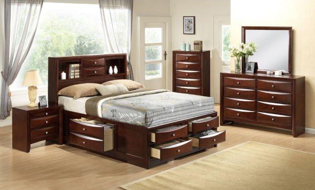 American Imports Emily Merlot King Storage Bed