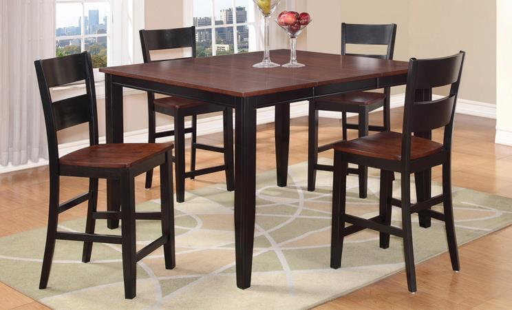 American Imports | PUB TABLE & 6 CHAIRS BLACK & CHERRY