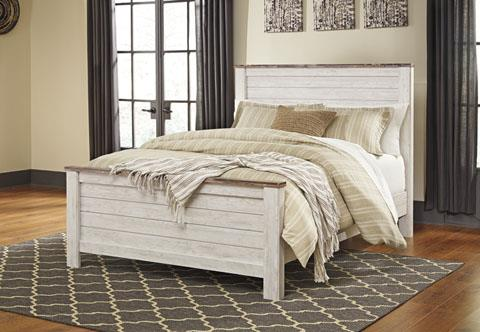 Signature Design Willowton Whitewash King Bed