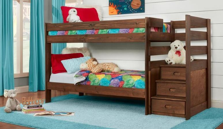 Simply Bunk Beds | TWIN/TWIN STAIRSTEP BKB STAIR CHESTNUT