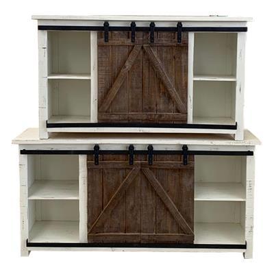 American Imports   74 Barn Door Wood\White Finish