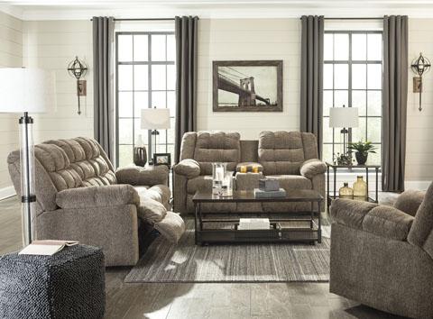 Signature Design Workhorse Cocoa Reclining Sofa & Loveseat