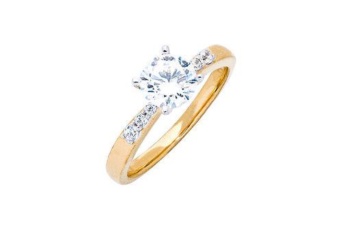New Generations   White Sapphire and Diamond Solitaire Ring