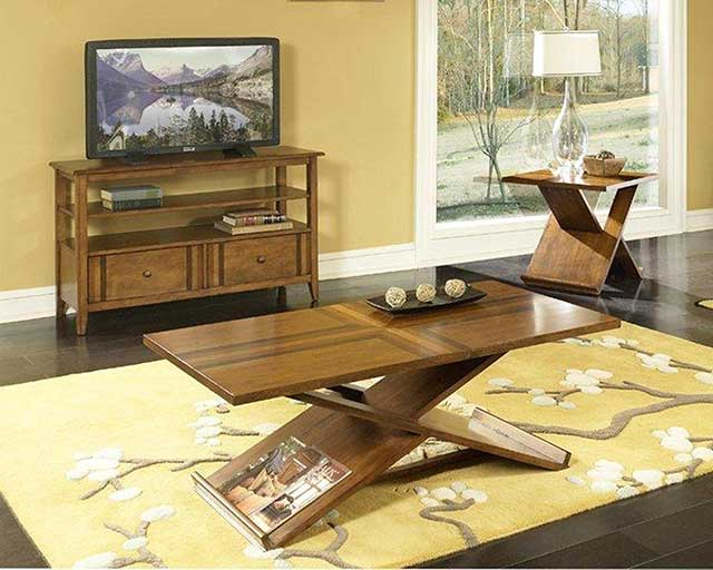 American Wholesale Furniture Birch with Walnut Inlay Magazine Occasional Table Set