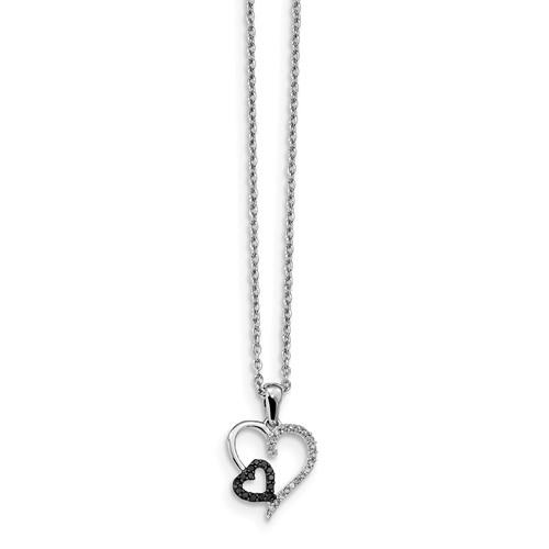 New Generations Silver Black and White Diamond Necklace