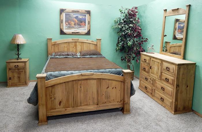 Million Dollar Rustic | Natural Finish Queen Econo Mansion Bed