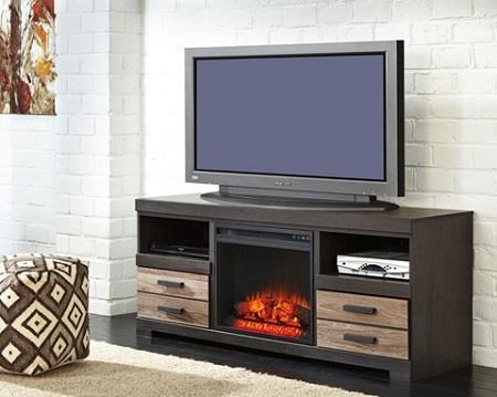 Signature Design | Harlinton Two-Tone 63 w/ Fireplace Insert