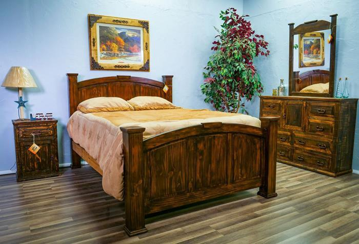 Million Dollar Rustic   Coffee Bean Queen Econo Mansion Bed, DR, MR, Night Stand