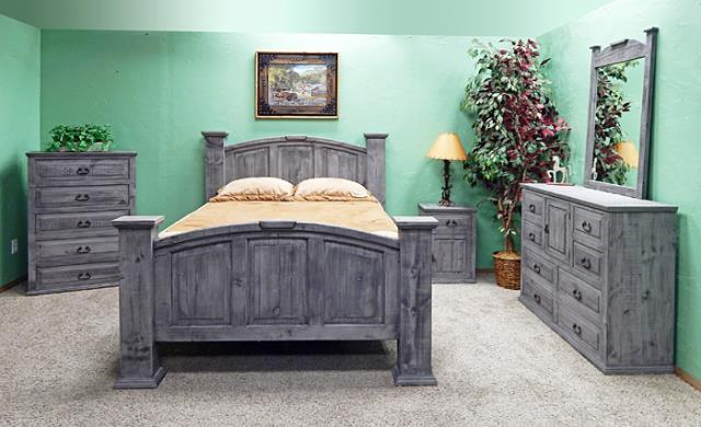 Million Dollar Rustic   Charcoal Gray Queen Mansion Bed, DR, MR, Night Stand