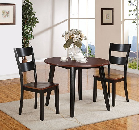Black and Cherry Drop Leaf Table & 2 Chairs