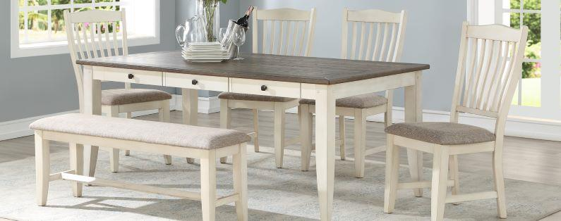American Imports | Lakewood Gray/White table & 6 chairs