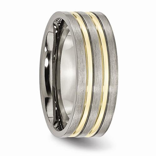 New Generations Yellow Grooved Titanium Band