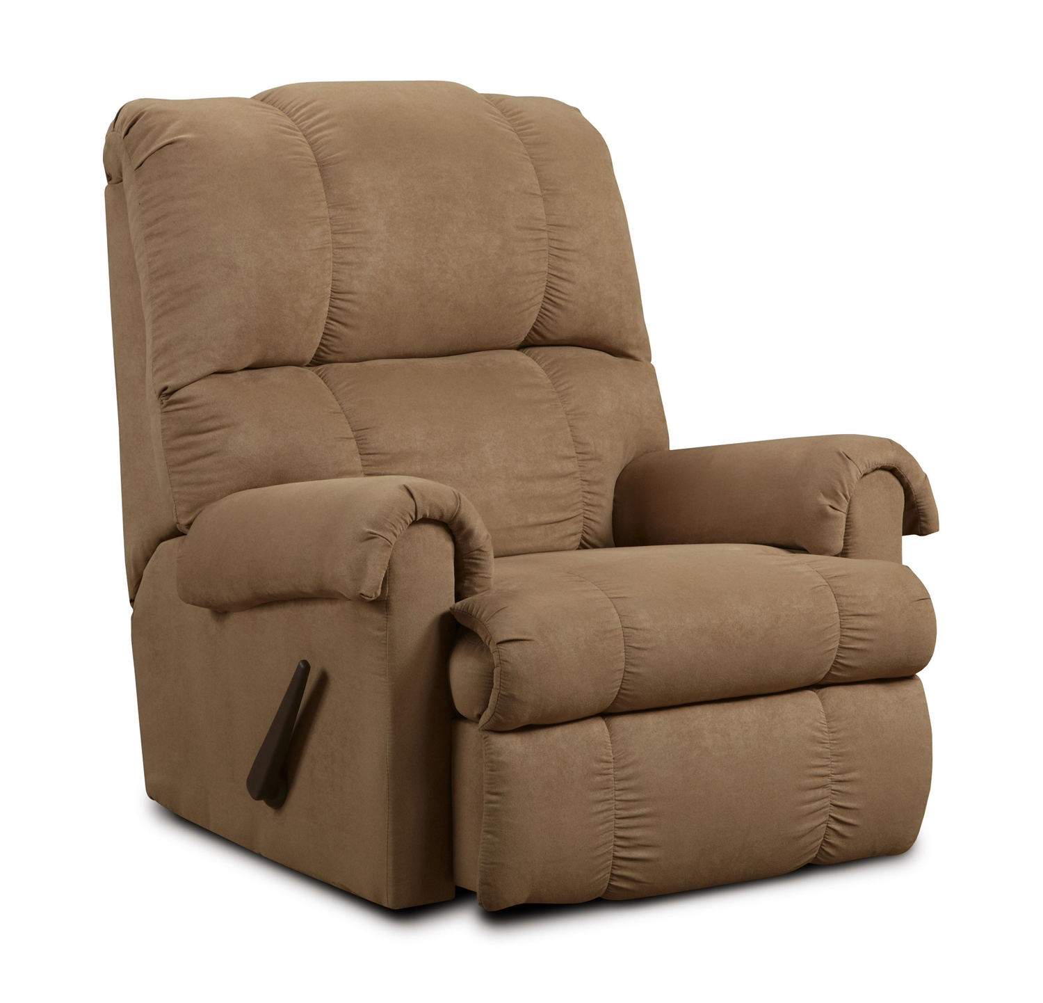 Rent American Wholesale Furniture Rocker Recliner Flat Suede Victory Lane Taupe Recliners