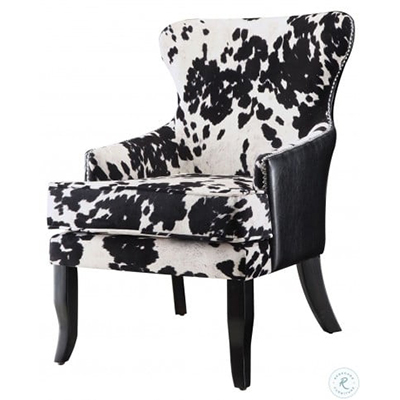 Faux Cow Hide Chair, Black /White