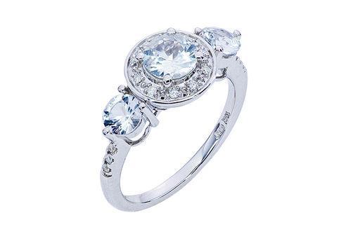 New Generations White Sapphire and Diamond Ring