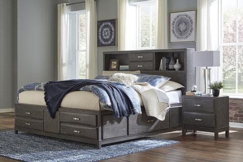 Signature Design | Caitbrook Gray Queen Storage bed w/ Bookshelf HB