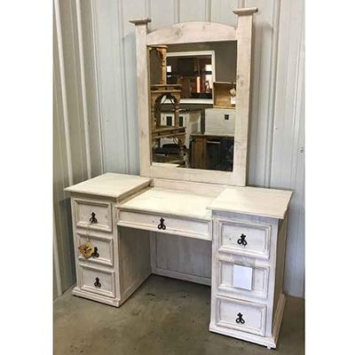 Million Dollar Rustic | Weathered white Vanity w/ Mirror and Bench