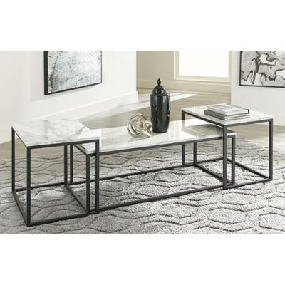 Signature Design | Donnesta Grey/Black 3 PK Tables
