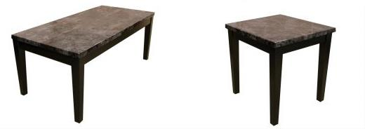 American Imports | COCKTAIL TABLE & 2 ENDS FAUX MARBLE BLACK