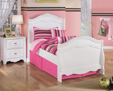 Signature Design Exquisite White Twin Sleigh bed