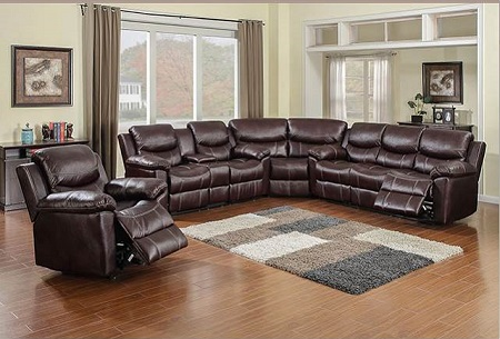 Rent American Wholesale Furniture 66005 3 Piece Sectional Chestnut