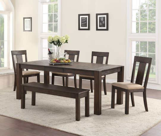 Quincy Dining Table, 4 Chairs & Bench