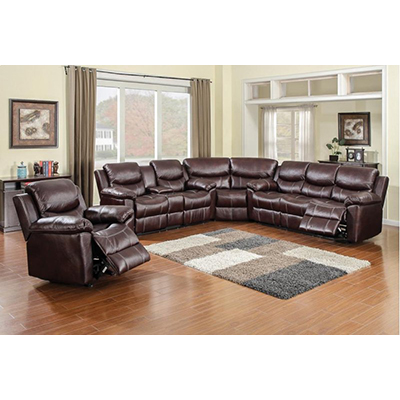American Wholesale Furniture 66005 3-Piece Sectional - Chestnut