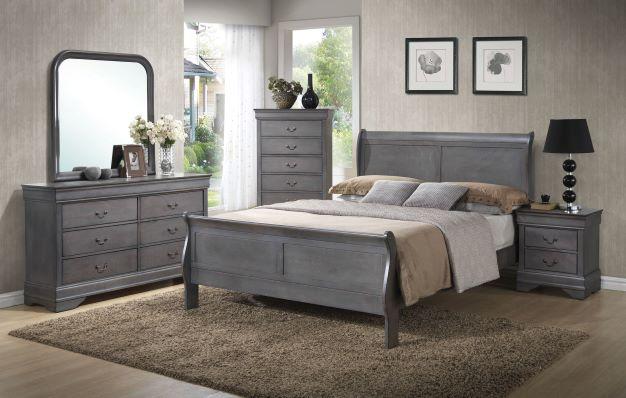 Grey Louis Phillipe Queen Bed