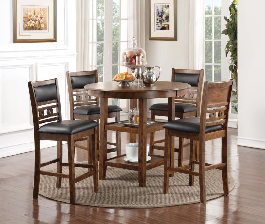 Gia Brown Pub Table & 4 Chairs
