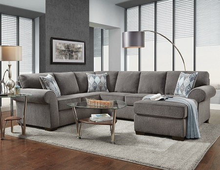Affordable Furniture Charisma 3 Piece Smoke Sectional