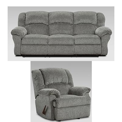 Affordable Allure Grey Reclining Sofa & Recliner